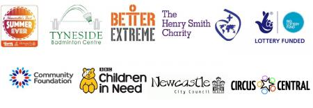 logos of Tyneside Badminton Centre, Better Extreme, The Henry Smith Charity, Lottery Fund, Community Foundation, Children in Need, Newcastle City Council, Circus Central