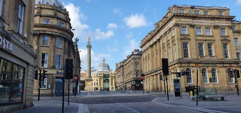 Newcastle city centre during lockdown