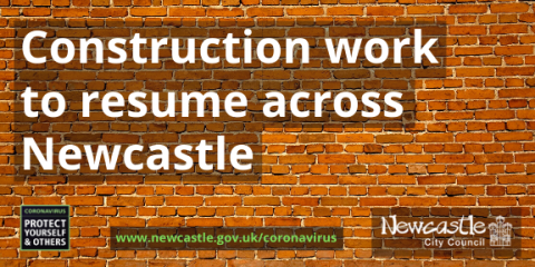 A photo of a brick wall with the text Construction work to resume across Newcastle