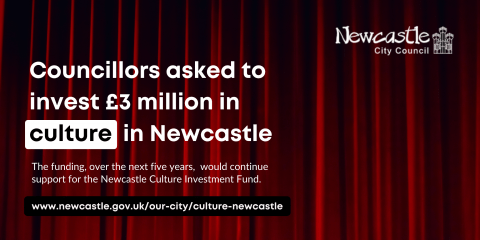 A red curtain with the text Councillors asked to invest £3 million in culture in Newcastle