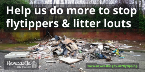 Photo of fly-tipped rubbish with the text 'Help us do more to stop flytippers and litter louts'