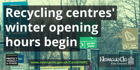 "Walbottle recycling centre, with the text ""Recycling centres' winter opening hours begin"""