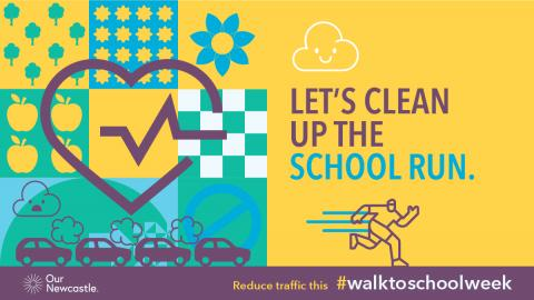 A graphic with the words 'Let's clean up the school run' and an image of a person running on one side and a line of cars with exhaust fumes coming out on the other side.