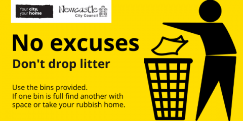 Tidyman on a yellow background, with the text No excuses. Don't Drop Litter.