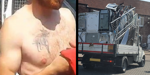 Body camera images of scrap man Lewis Temple's distinctive dog tattoo and his overladen van full of metal