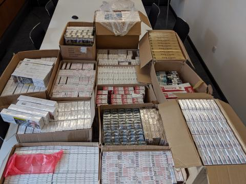 The huge haul of cigarettes found in a storage container
