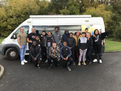 Young People, staff from Streetwise and Edge celebrating with the Youth Van during outreach work in Newburn.