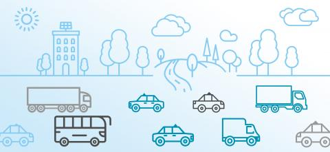 Artwork showing drawings of vehicles and trees