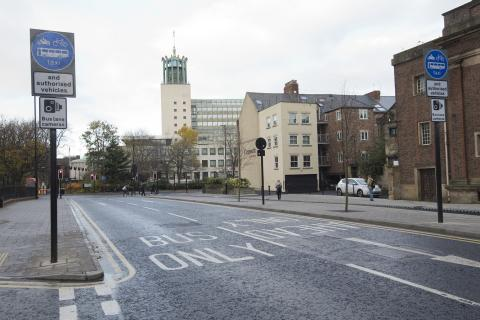 Image of hte bus lane on John Dobson Street