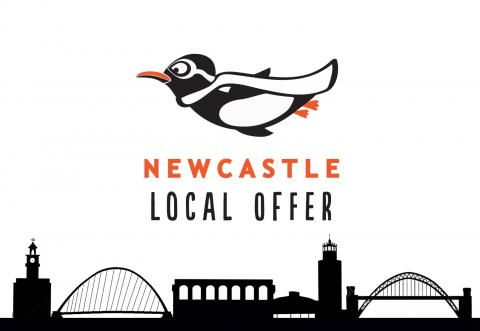 A black and white image showing a cartoon bird flying over a drawing depicting the Newcastle city skyline with the words 'Newcastle Local Offer'