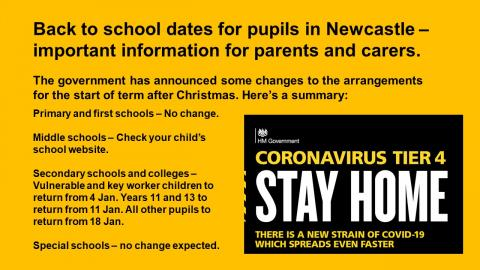 A yellow and black graphic containing text giving back to school dates and the Tier 4 Stay Home warning.