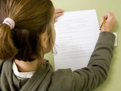 Photo of the back of a young girl with her hair in a ponytail and wearing a grey jumper looking down at a piece of paper with a pencil in her right hand.