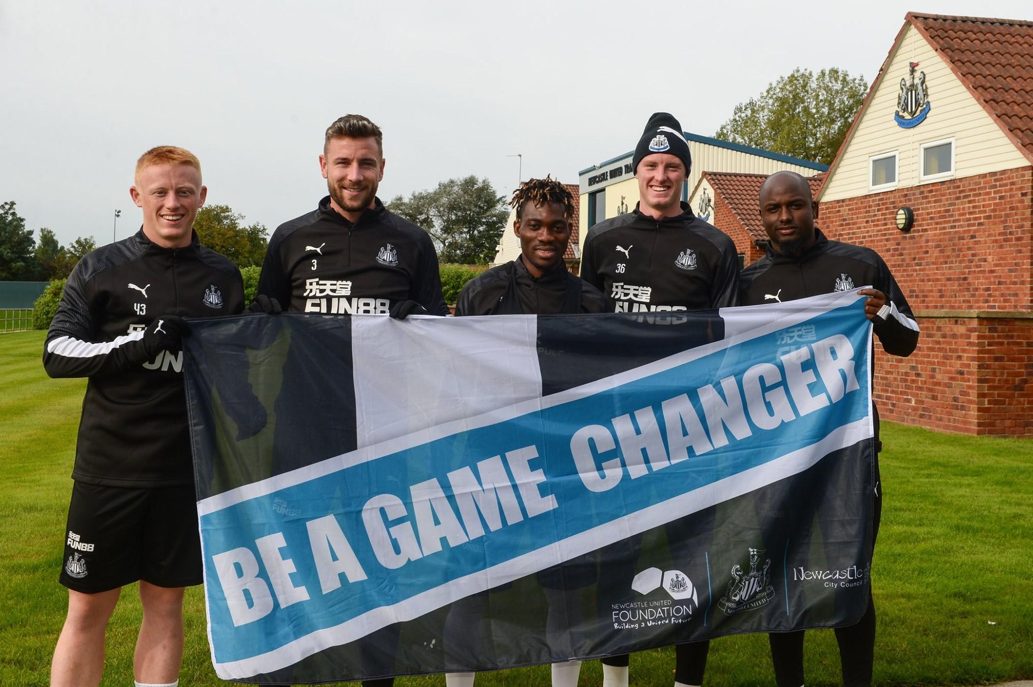 Players from Newcastle United supporting the Be A Game Changer campaign