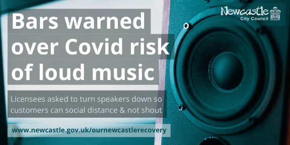 A speaker with the text 'Bars warned over Covid risk of loud music'