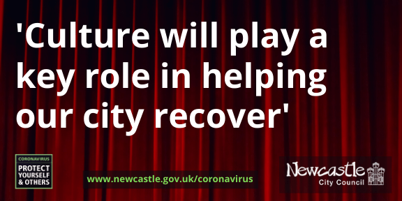A red theatre-style curtain with the text Culture will play a key role in helping our city recover