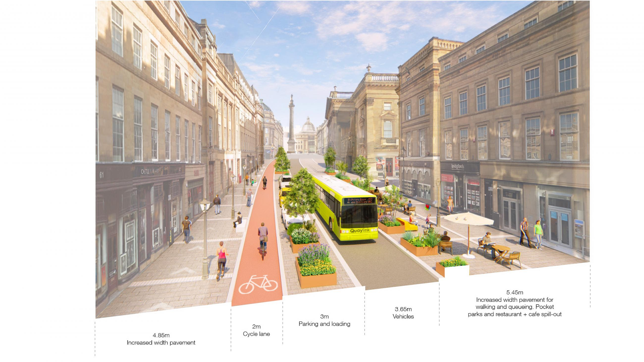 Artist impressions showing a potential new layout for Grey Street with space for walking, cycling and vehicles.