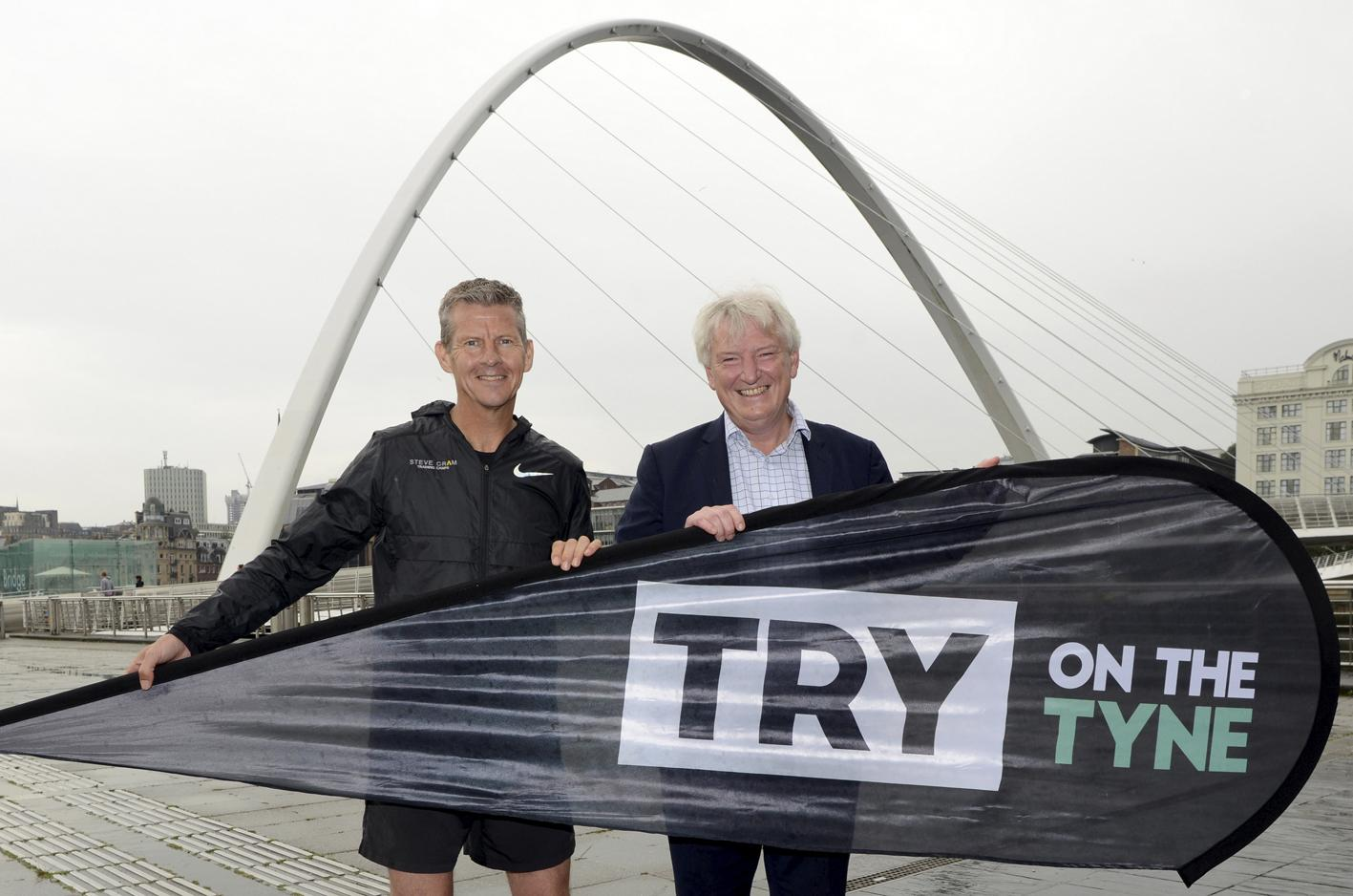 Steve Cram and Carsten Staehr of Cintra, title sponsor of TRY on the Tyne.