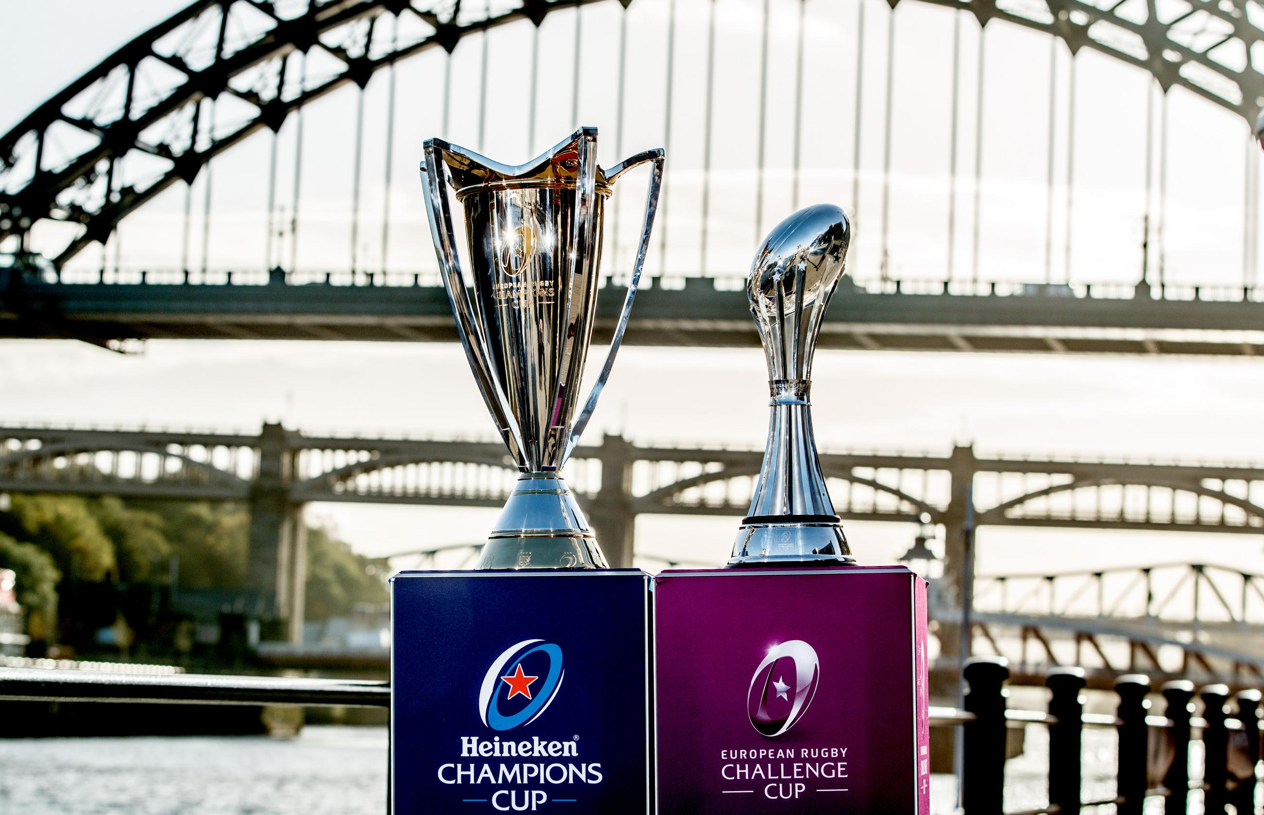 The two trophies on Newcastle Quayside