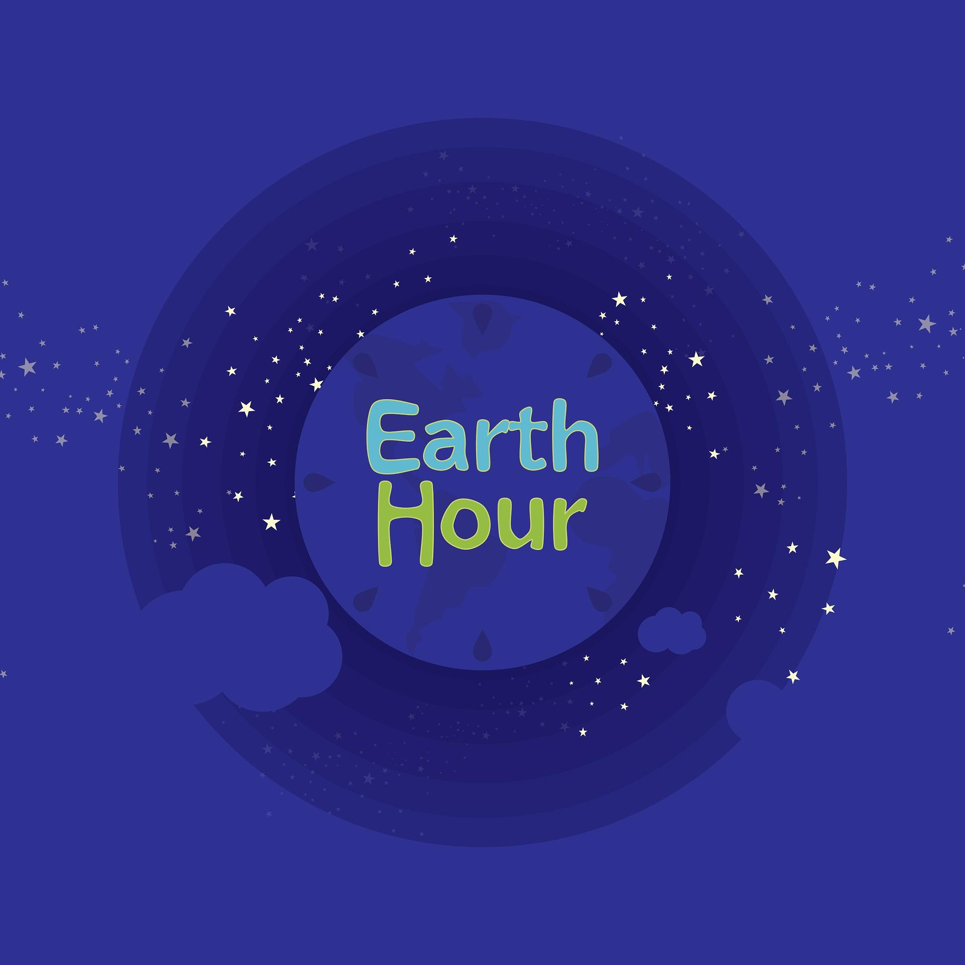 Blue image showing the planet  with the words Earth Hour