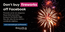 Fireworks exploding in the night sky with text urging people not to buy explosives on Facebook