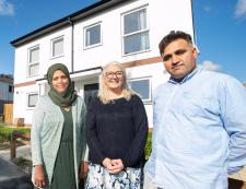 Councillor Linda Hobson welcomes residents to their new homes
