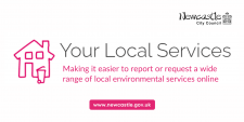 "A pink icon of a house, with a wheelie bin. Text: ""Your Local Services - Making it easier to report or request a wide range of local environmental services online."