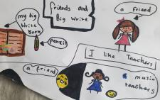 Picture hand drawn by Sadie.  Picture shows that friends are important to her