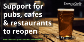 A pint of beer on a wooden bar with the text Support for pubs, cafes and restaurants to reopen