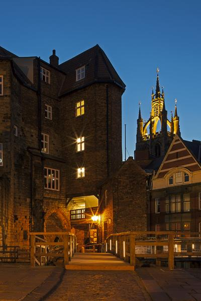 Newcastle keep at night time with St Nicholas Cathedral in the background