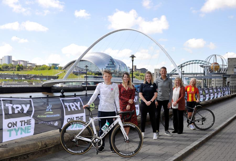 Launching TRY on the Tyne - (l-r) Dan Dixon, Cllr Kim McGuinness, Sam Morgan-Nicholson, Steve Cram, Cllr Angela Douglas, Lynn Munro